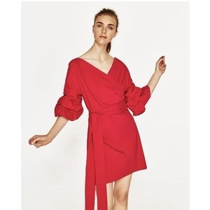 Zara red wrap cocktail dress ruffle sleeves XS
